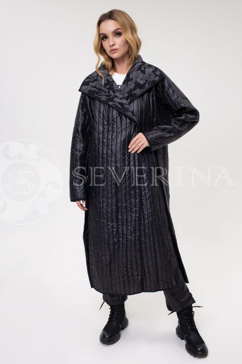 palto stezhka chernoe kamufljazh 500x750 - пальто стёганое с камуфляжной изнанкой