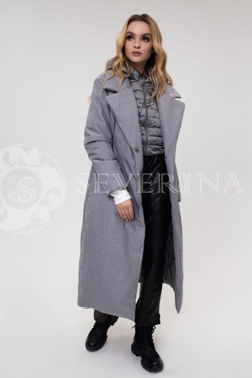 palto stezhka seroe dvojka 500x750 - пальто-трансформер стёганое на биопухе