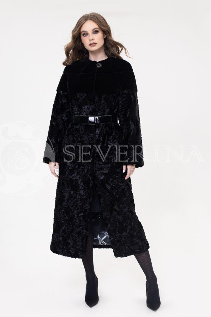 palto jekomeh chernoe karakul s remnem 700x1050 - пальто из экомеха с имитацией каракуля